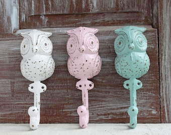 Owl Wall Hooks Set of 3 Owl Hooks, Decorative Wall Hooks, Woodland Nursery, Owl Decor, Decorative Owls, Forest Animal Wall Decor
