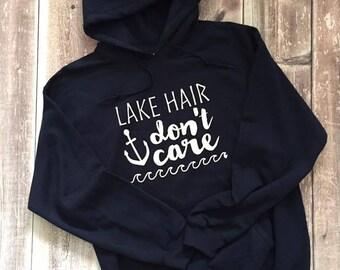 lake hair don't care, camping sweatshirt, campfire sweater, outdoor sweater, lake sweater, cottage sweater,