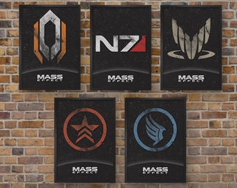 Mass Effect Video Game Posters -  Set of 5 Prints - Cerberus, N7, Spectre, Renegade & Paragon