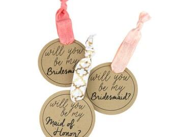 Bridesmaid Proposals, Bridesmaid Gifts, Hair Tie Favors, Be My Bridesmaid, Be My Maid of Honor, Cute Elastic Hair Tie Card