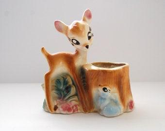 Vintage Bambi Planter, Ceramic Disney Collectible