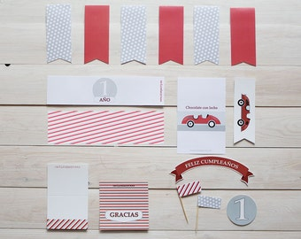 Printable party pack red vintage car
