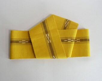 "Casual obi sash - Japanese vintage - ""han-haba (half-width)"" cotton sash - ikat from islands of Yaeyama - WhatsForPudding #2138"