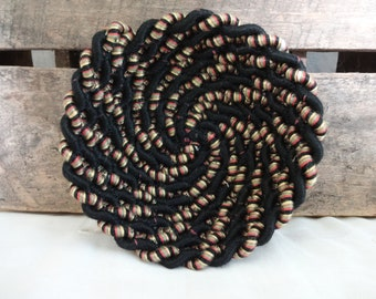 Upcycle Rope Bowl: Black Rainbow Swirl, Jewelry, Sewn Bowl, Reduce Reuse Recycle, Sustainable, Zero Waste, Functional Art, Home Design
