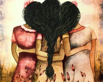 Art Print Sisters Best Friends Black Hair