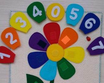 Numbers in felt, Developing toy, Felt flower, felt numbers, Felt learning toys, Montessori game, Toddler game, Board game, Gift for child