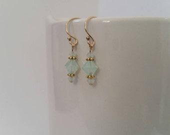 Swarovski Crystal Earrings, Green Opal