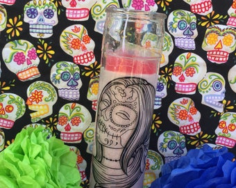 Day of the dead candle, day of the dead, dia de los muertos, dia de muertos, candle, velas de dia de muertos. Velas