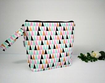 Wet bag, beach bag, nappy bag, waterproof PUL bag - triangles