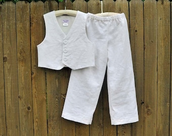White Linen Pants and Vest, Boys linen suit, many colors, Beach Weddings, Photos, dedications...6m,12m,2t,3t,4t,5,6,7,8,10