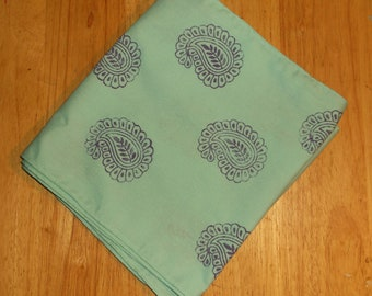Hair scarf mint green with purple paisley hair wrap head scarf