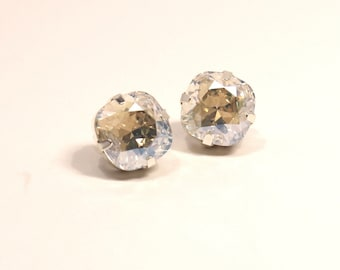 Moonlight Crystal Stud Earrings Classic Sparkling Shimmer Solitaire Swarovski 10mm 12mm Clear AB Simple Hot Sterling Post Women's Jewelry