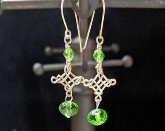 Celtic Wire Wrapped Pendant Earrings - Irish Green Crystal Dangles