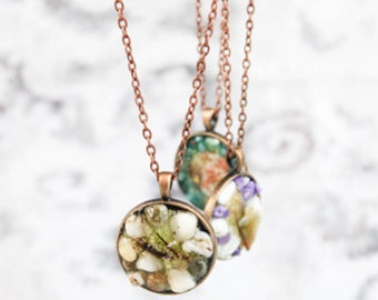 natural stone chips necklace white jewelry moss statement necklace botanical jewelry for mom gifts grandma summer necklace purple Рю120