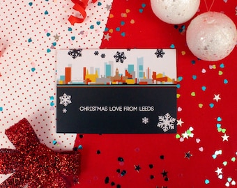 Cityscapes Christmas Card - Leeds Christmas Card - City Skyline Christmas Card - Leeds Print