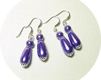 Violet Earrings, Purple Earrings, Bridesmaid Earrings, Bridesmaid Gift, Bridal Party, Bridal Accessories, Teardrop Dangle, Mother of Groom