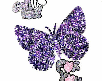 Butterfly sequin patch