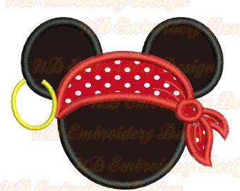 Pirate Mickey Mouse Stickerei Applique Design, Maus Ohren Maschinenstickerei, ms-112