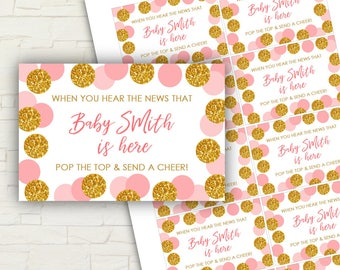 PRINTABLE - Pink and Gold Baby Shower - Personalized - Baby Shower - Mini Champagne Labels - PRINTABLE - Custom - Gold - Glitter - 0112