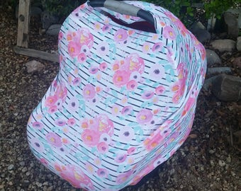 Baby Girl Car Seat Canopy - Stretchy Car Seat Cover - Nursing Poncho - Pink Mint Floral Baby Cover - Baby Shower - Multi Purpose Baby Cover