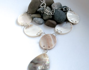 Big Bead Necklace - Repurposed Jewelry - Mother of Pearl - Y Necklace - Statement