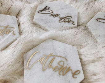 Real Marble Tile Hexagon Place cards, Wedding Escort Cards, Calligraphy Escort Cards, Handlettered Seating Chart