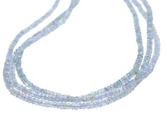 Bead Sale : ) GENUINE SAPPHIRE BEADS Faceted Rondelles Silver Blue 3-4mm NewWorldGems