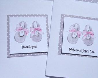 Welcome Baby Girl Cards - Baby Shower Cards - Baby Gift Thank You Cards - Baby Shower Invitations - Baby Booties Cards  GPBC1