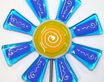 Glassworks Northwest - Brilliant Aqua and Blue Flower Stake - Fused Glass Garden Art