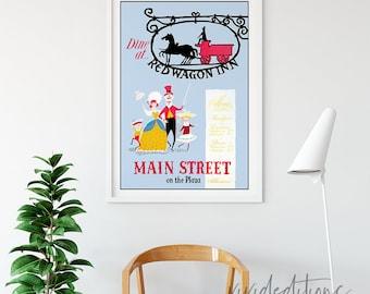 Disneyland Poster, Vintage Main Street on the Plaza Dine at Red Wagon Inn Attraction Poster, Nursery Art, Kids Art Print Wall Art Not Framed