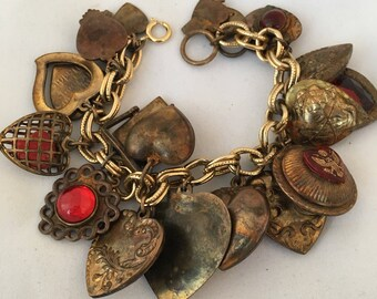 WWII Charms Puffy Hearts Aged Patina Bronze Tone Metal Red Poured Glass Caged Heart Lockets Sweetheart Bracelet 21 Charms I Love You Daddy
