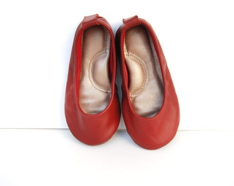 Handmade girls leather ballerina flat shoes dark red burgundy custom made