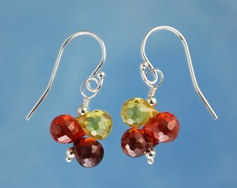 Embers Gemstone Earrings - citrine yellow, bold orange, and deep red cubic zirconia on sterling silver hooks - free shipping in USA