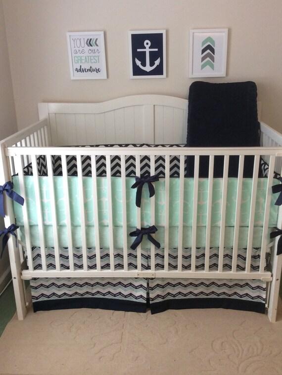 Baby Boy Crib Bedding Set Navy And Mint Nautical