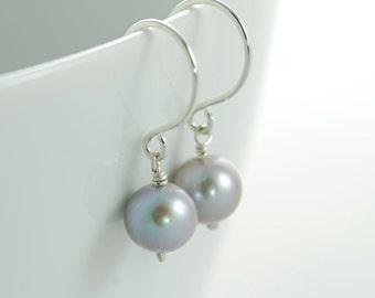 Gray Pearl Earrings Sterling Silver Dangle Handmade, aubepine