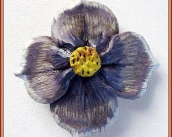 Broche artesanal flor pensamiento violeta,broche hippie boho flor,regalo dama honor, pin solapa, regalo para amiga,broches pin amante flores