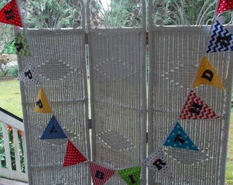 Fabric Happy Birthday Banner- Bright Colors (No pinks)