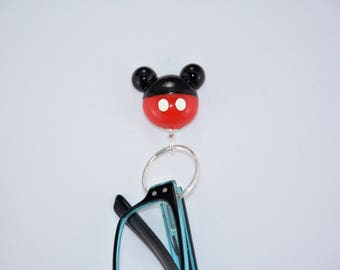 Magnetic eyeglasses holder Gift for Grandma Grandpa, Sunglasses holder, Holds securely with magnets, Mickey mouse ears, Black red and white