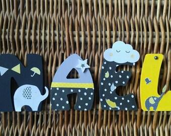 Kids name letter wooden 8cm - theme babyfan
