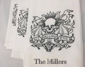 """Personalized Dish Towel Embroidered With Spooky Skull and """"All Hallows Eve"""" for Halloween Decoration"""