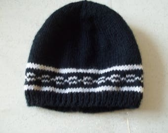 Hat colors Blue and white - made hand-0-3 months-