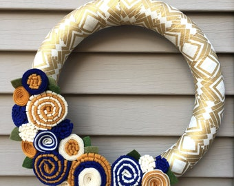 Gold Wreath - Blue Wreath - Fall Wreath - Blue and Gold Wreath - Flet Flower Wreath - Autumn Wreath - Felt Wreath - Spring Wreath - Gold