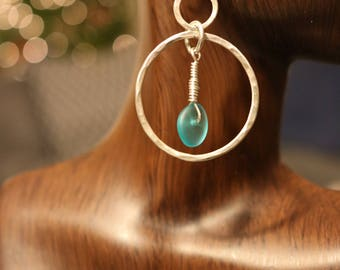 Sterling Silver and Sea Glass Hammered Circles