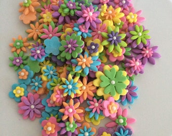 Assorted Colourful Flower Cake/Cupcake Toppers