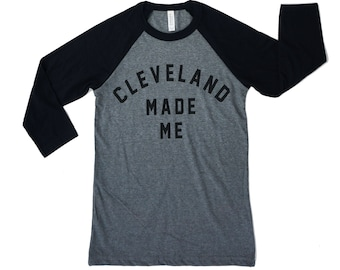Unisex 'Cleveland Made Me' Grey TriBlend Fleece Crew Sweatshirt