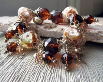 Sterling Silver Charm Bracelet. Lampwork Charm Bracelet. Sterling Silver Bracelet. Mocha Brown Bracelet. Lampwork Bracelet - CARAMEL KISSES