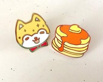 "1.25"" Shiba & Pancake Hard Enamel Pins"