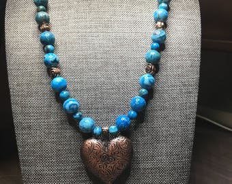 Copper Heart Necklace, Valentines Day Jewelry ,Turquoise