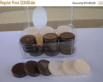 For Sale 30  Brown & Ivory Backgammon Checkers - Chips  1 inch - High Quality