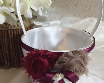 Flower Girl Basket Wedding White or Ivory CUSTOM Rhinestone Crystal Flower Pearls colors Wine Taupe